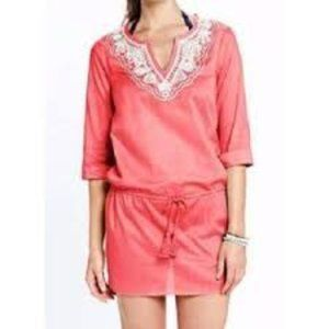 LAND'S END BOHO Coral Embroidered Tassel Cover Up